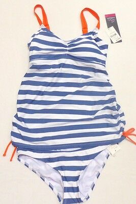 New Women Motherhood blue white stripe two piece swim bathing suit S fits 4-6