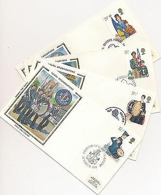 SC# 983-986 Youth Organisations Great Britain Colorano Silk Cachet 1982