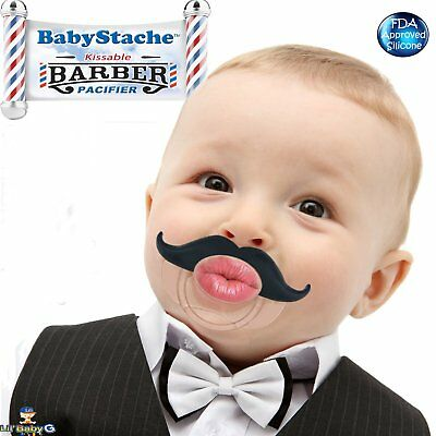 BabyStache Kissable Baby Pacifier Cute and Funny Mustache Pacifiers for Babies