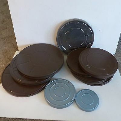 Lot Of 10 Vintage Empty Film Reel Canisters Metal