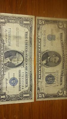 SILVER CERTIFICATE  NOTE BILLs (1 1957) (5 1934 D) RARE CURRENCY AGED AWESOME