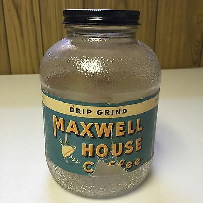 Vintage Maxwell House Coffee Glass Jar Country Store Advertising