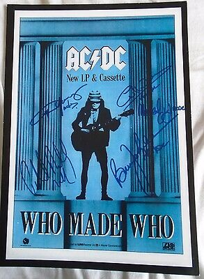 ACDC Signed Album Promotion Who Made Who A4 Print