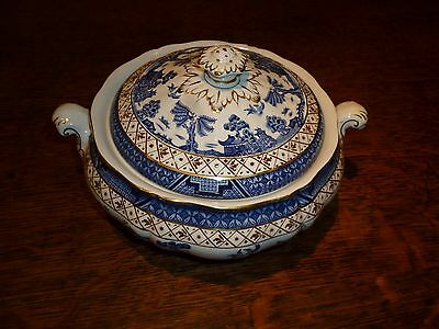 Booths Real Old Willow Lidded Serving Dish / Tureen  A8025~Gold Edge~