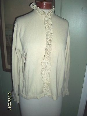 Vintage 1950's Hadley 100% Cashmere Ivory Sweater With Ruffles M