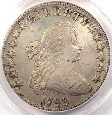 1799 Draped Bust Silver Dollar $1 - Certified ANACS XF40 Details (EF40) - Rare!