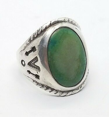 Vintage Turquoise Native American Sterling Silver 925 Mens Ring Size 8.5