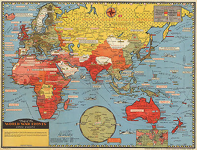 1943 Pictorial Map World War Fronts Dated Events WWII Military Wall Poster Print