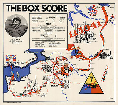 1945 WWII Military War Map The Box Score 7th Armored Division U.S. Army Poster