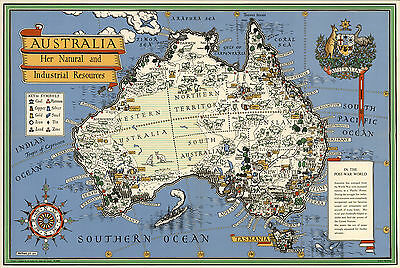 """Decorative Pictorial 16""""x24"""" Map of Australia Wall Art Poster Vintage History"""