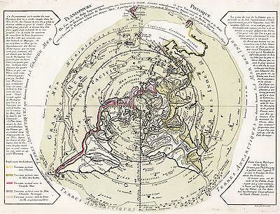 """Flat Earth 1756 Map of the World on Polar Projection XL 16""""x21"""" Wall Art Poster"""