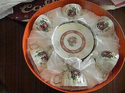 Vintage Tea Set/ Six Cup & Saucers/ In Round Heavy Box