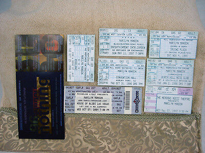 LOT 8 Rare Marilyn Manson Nine Inch Nails LIVE Concert Ticket Stubs Multi States