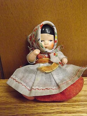 """Vintage 3"""" All Bisque Jointed Baby Dollhouse Doll - Storybook ??"""