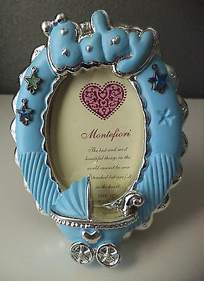 "Silver Spoon Baby Blue Boy Baby Carriage Nursery Photo Frame 2.5 x 3.5"" Oval NEW"