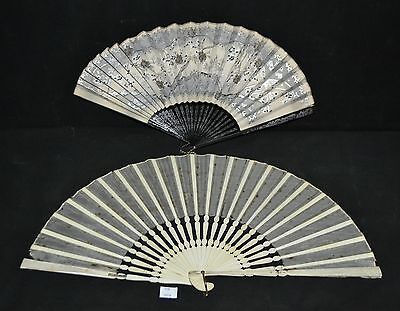 ThriftCHI ~ Hand Painted Silver Branch & Flower Hand Fan, Silk & Wood Fan