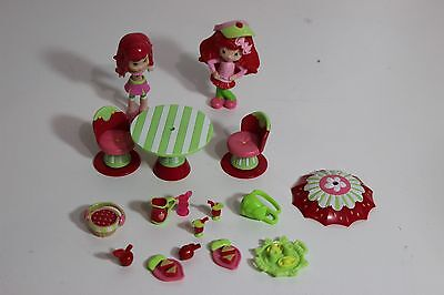 Strawberry Shortcake Figures and furniture, cafe food table chairs accessories