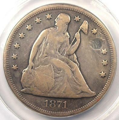 1871 Seated Liberty Silver Dollar $1 - ANACS F12 Details - Rare Certified Coin!