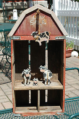 "Vintage 1970's COCA COLA Wood Crate Wall Hanging Shelf Barn ""Cow Sale"""
