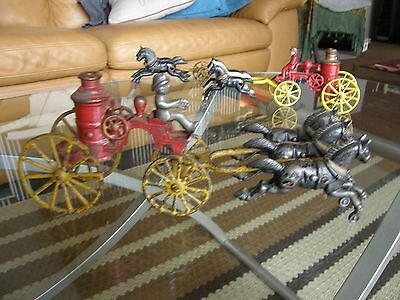 """Early 1900S 11.5"""" HUBLEY CAST IRON 3 HORSE DRAWN FIRE PUMPER Rare & NICE Arcade"""