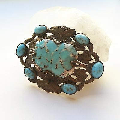 Edwardian Era Western Repousse Belt Buckle Victorian Brass Turquoise RARE