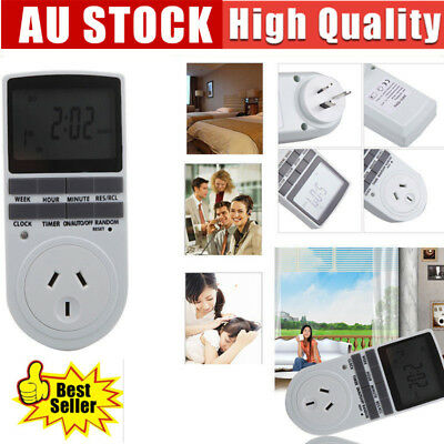 AU Plug in Programmable Digital LCD Electronic Timer Socket Switch 24H 7Day Week