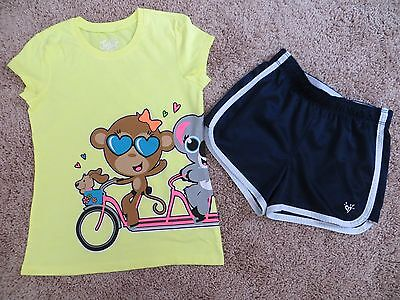 Justice - Girls -Super Cute Yellow T-Shirt & Blue Shorts Outfit - Size 10