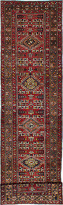 """Hand-knotted Persian Carpet 3'4"""" x 14'3"""" Gharajeh Traditional  Wool Rug Runner"""