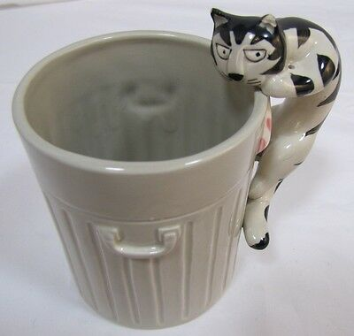 Cat Trashcan Cup Mug Coffee TOM CAT by Takahashi Hand Painted