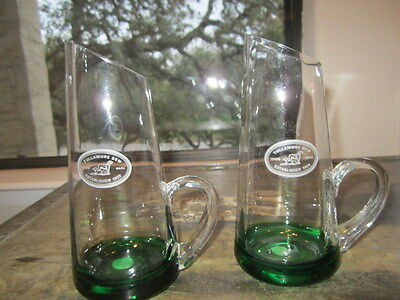 Pair Of Tullamore Dew Irish Whiskey Slanted Top Glasses With Green Base