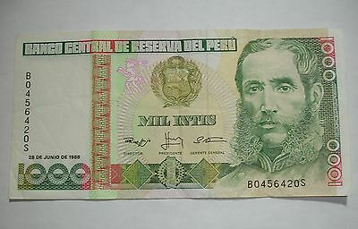 Peru Two 1000 Inti Bank Notes - June 1988