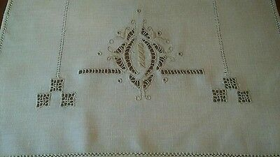 Antique Italian Reticella Embroidery Linen Table Runner, 6 Placemats, 6 Napkins