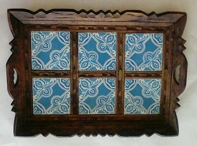 Vintage Ceramic Tile Tray Handcarved Carved Wood Serving Tray