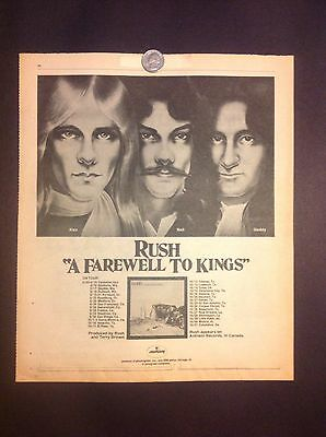 Rush A Farewell To Kings original poster ad 1977 Neil Peart Geddy Lee Alex