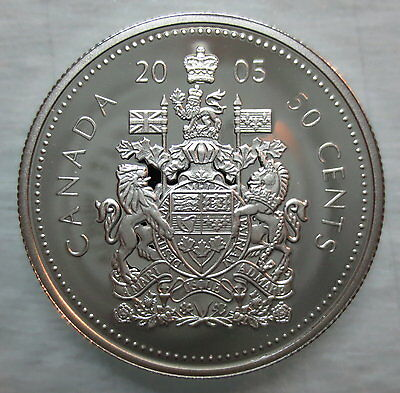 2005 Canada 50 Cents Proof Silver Half Dollar Coin - A