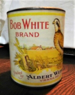 Vintage Bob White Brand Tin Can Advertising Label Pumpkin Albert Webb. Vienna MD