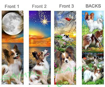3-PAPILLON BOOKMARKS Dog SABLE WHITE Card Figurine Ornament-Long Hair Chihuahua