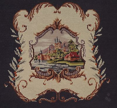 """Antique Needlepoint Tapestry 22""""x28"""" Castle Scene for Pillow or Chair Seat"""