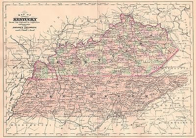 Original 1892 Antique Map KENTUCKY Lexington Louisville Owensboro Frankfort KY