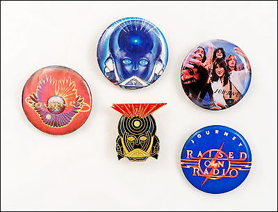 Journey Lot Of 4 80's Buttons & Enamel Frontiers Pin / Raised On Radio