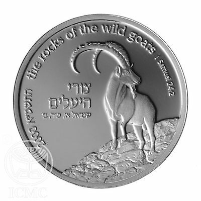 Israel 2000 WILD GOAT AND SHITTAH (ACACIA) TREE Silver Prooflike Coin