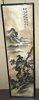 Chinese painting embroidery Embroidered silk mountains signed Panel Art Japanese