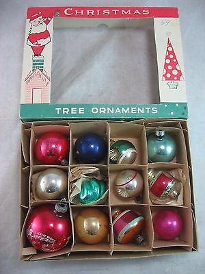 CHRISTMAS ORNAMENT Vintage Glass Mixed Lot In Box 1950's