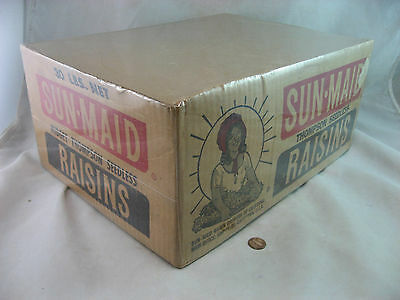 Sun Maid Raisins Rare Empty Box Crate California Usa, Vintage Food 1940-50's