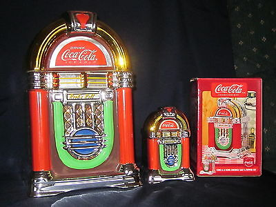 Retro Coca Cola Coke & A Song Jukebox Cookie Jar & Salt and Pepper Shakers