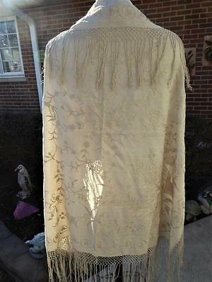 ANTIQUE CREAM ON CREAM SILK EMBROIDERY SHAWL w HAND KNOTTED FRINGE
