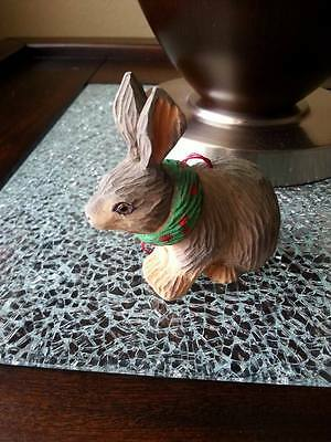 Hand Painted Carved Wood Christmas Ornament ~ Rabbit