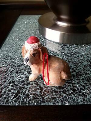 Hand Painted Carved Wood Christmas Ornament ~ Bassett Hound