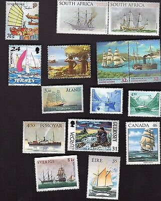 SHIPS on STAMPS thematic topical MUH selection of 15 different