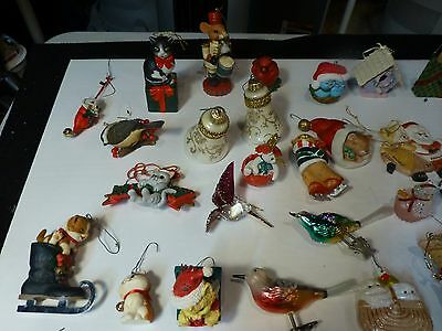 30 cat and bird Christmas ornaments + misc.